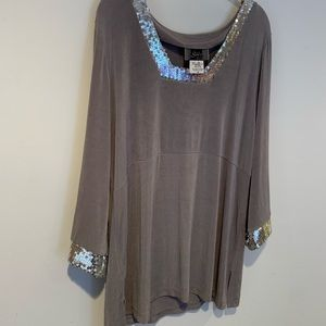 Slinky Brand Sequined Tunic 1X